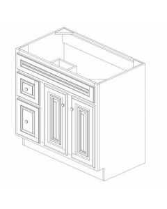 "K-Series Cinnamon Glaze - Vanities, -36""WX21""DX34-1/2""H Drawer Left"