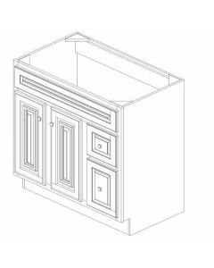 "K-Series Cinnamon Glaze - Vanities, -36""WX21""DX34-1/2""H Drawer Right"